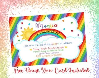 Rainbow, Rainbow invitation, Rainbow invite, Rainbow birthday invitation, Rainbow printable, Rainbow card, Girls Rainbow birthday invite
