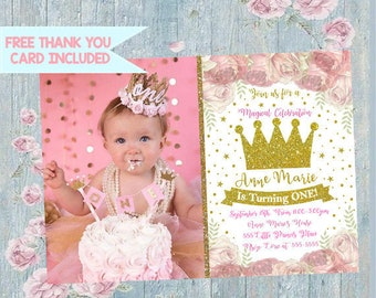 Princess Invitation Crown Birthday Gold Photo Invite