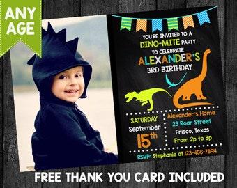 Boys Dinosaur Birthday Invitation Theme Photo Invite Card