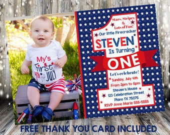 4th Of July Birthday Invitation Firecraker Patriotic First USA Flag 1st