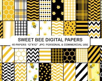 Seamless Bumble Bee Digital Papers Bee Papers Honeybee Digital Patterns Bee Backgrounds Honeycomb paper Hive Honey Bee Digital Paper