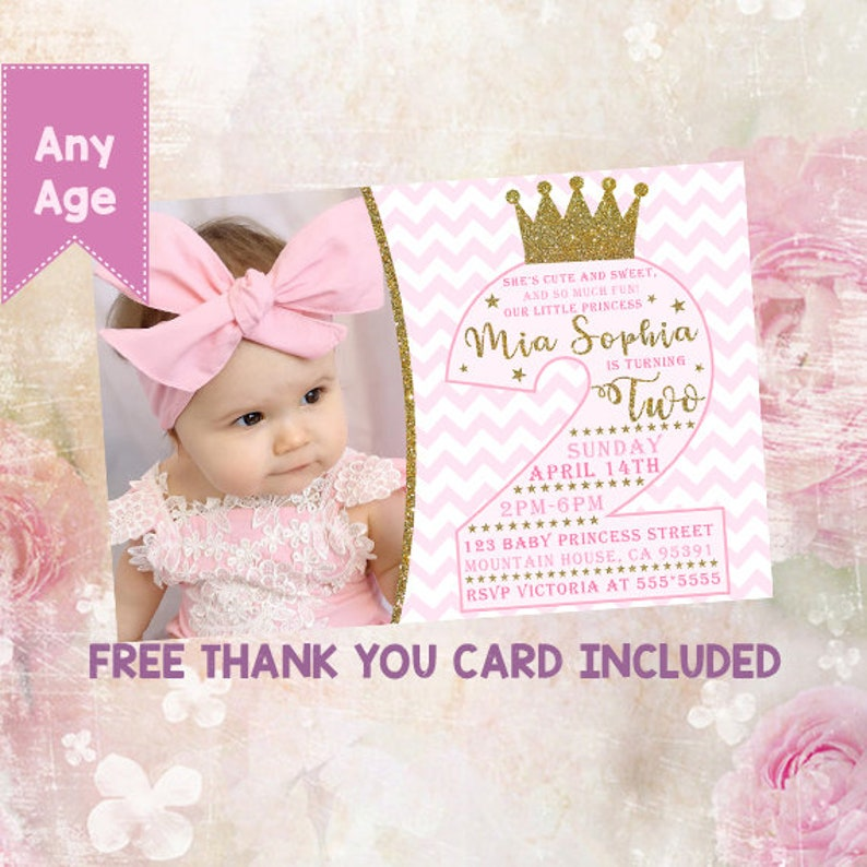 Princess 2nd Birthday Invitation Second