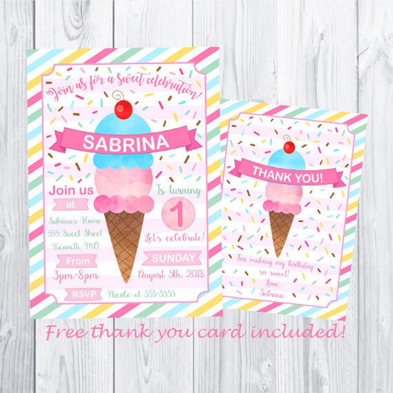 Ice Cream Birthday Invitations Girl