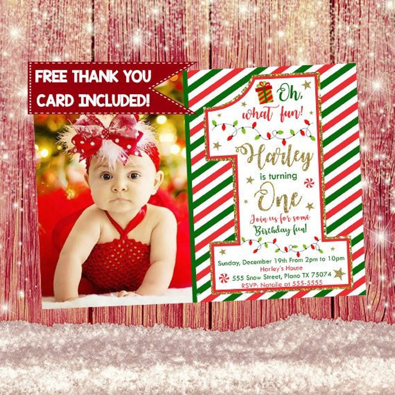 Christmas First Birthday Invitation Baby Theme