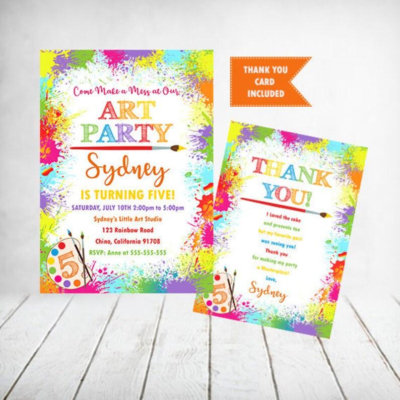 Art Party Birthday Invitation Painting Printable Invite
