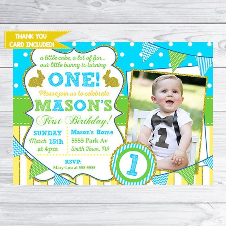Easter Birthday Invitation Boy Bunny Birthday Party Boy Etsy