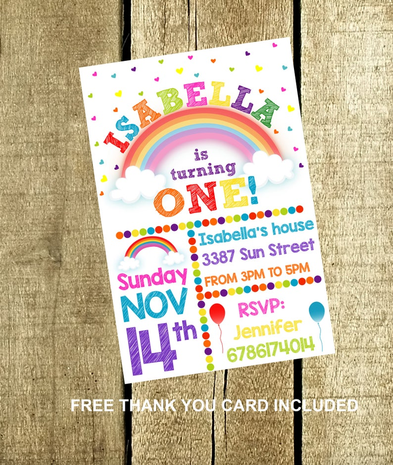 Rainbow Invitation Birthday