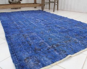 "Turkish Overdyed Rug, Vintage Handmade Bohemian Oushak Area Rug, Anatolia Wool Rug Carpet, Vintage Overdyed Blue Tribal  Area Rug 80""x45"""