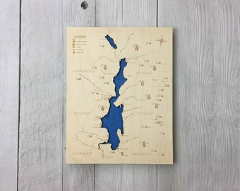 Priest Lake Wooden Map - Medium