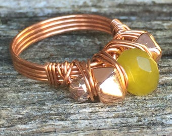 """Jade Wire Wrapped Healing Stone Copper """"Tami"""" Ring"""