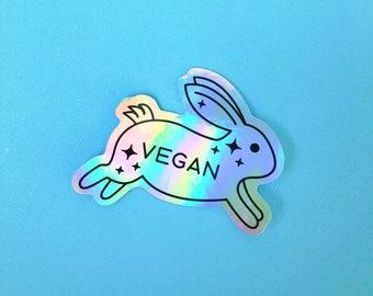 Vegan Rabbit Holographic Sticker | Waterproof | Veganism | Animal Rights