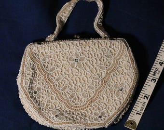 1920s gatsby vintage hand beaded purse beaded handbag antique beaded bag vintage beaded clutch vintage beaded evening bag white