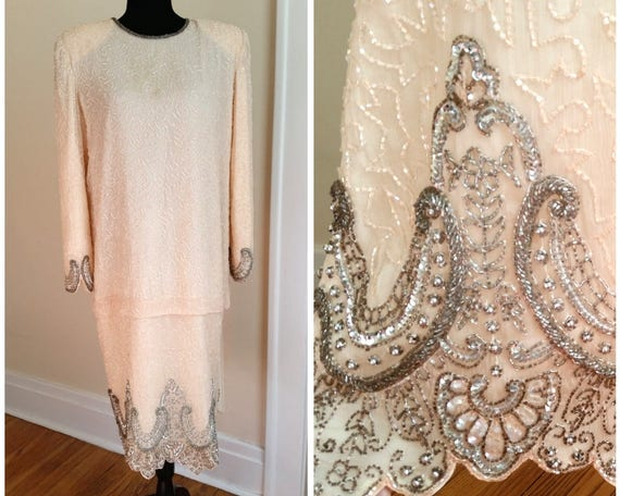 vintage 1920s/ 1930s formal gown, pink beaded even