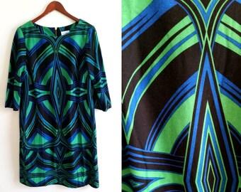 90s casual dress, retro 90s dress, geometric dress vintage knit dress, blue and green dress shift dress, knee length dress xl