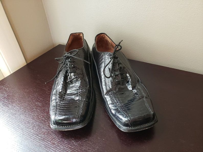b5b03bdcccb Vintage stacy adams black snakeskin leather dress shoe shiny