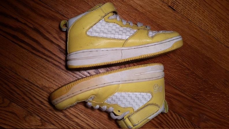 8d9bebea8a11 Vintage basketball shoe yellow sneakers vintage high top