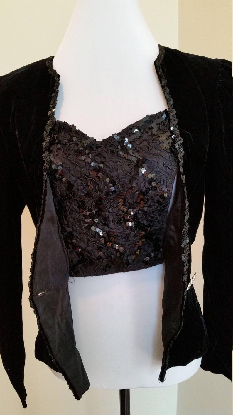 80s black sequin jacket black velvet blazer lace blazer velvet blazer vintage black jacket 1980s party blazer women/'s small