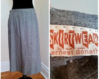 60s/ 70s schoolgirl skirt pleated skirt pleated wool skirt vintage grey wool skirt long pleated skirt, skirtwear by ernest donath, medium