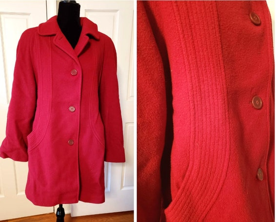 london fog coat, vintage red pea coat, long red co