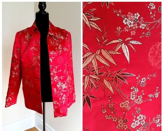 silk blazer oriental jacket red blazer silk jacket