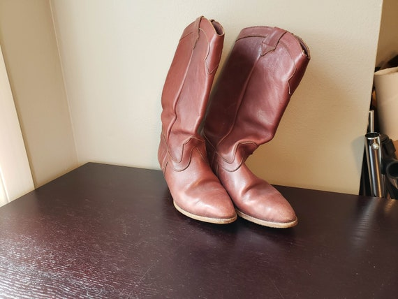 leather cowboy boots russet red/ brown western boo