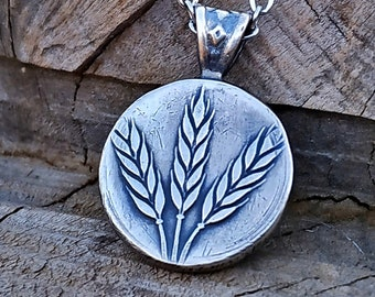 Wheat Plant, Wheat Pendant, Wheat Coin Pendant, Summer Pendant, Holiday Necklace, Vacation Pendant, Coin Pendant, Love Pendant, Coin Jewelry