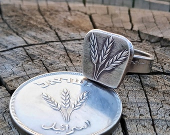 Wheat Coin Ring, Signet Ring, Blessed Ring, Wheat Plant, Bohemian Ring, Coin Ring, Inexpensive Ring, Handmade Jewelry, Minimalist Ring