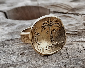 Palm Tree Gold Ring,Palm tree Coin Ring,Ring for Women,Palm Tree Jewelry,Gold Palm Tree,Womens Gold Ring,Palm Tree for Women,Gold Ring