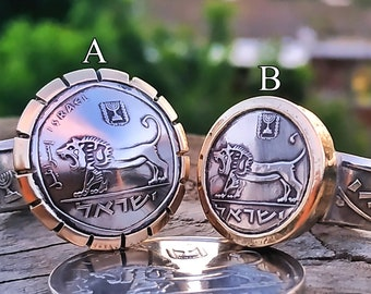 Lion Ring, Lion Silver Ring, Silver Ring, Coin Rings for Women, Jerusalem Ring, Lion of Judah Ring, Jewish Rings for Men, Coin Ring