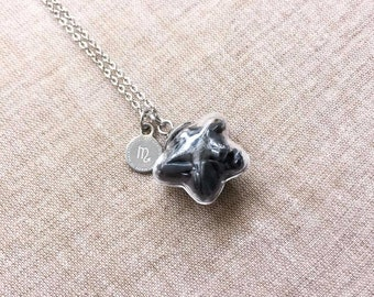 SCORPIO Necklace, Horoscope Necklace, Obsidian Necklace, Star, Stainless Steel Jewelry, Crystal Necklace