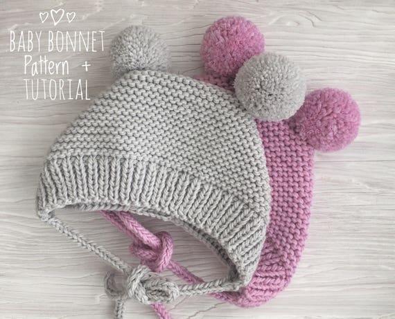 Baby Bonnet Knitting Pattern Knitted Bonnet Pattern Pdf Etsy