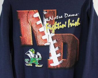 Vintage Notre Dame Fighting IRISH Football Embossed Sweatshirt Nutmeg Mills Large