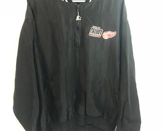 Detroit Red Wings Starter Pull Over Jacket Stanley Cup Champs Vintage XXL Black