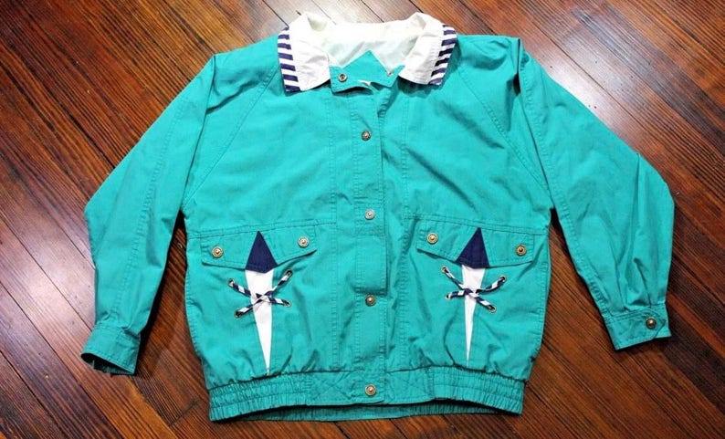 79c06d7d0 Vintage 80s 90s Outbrook Womens Button Up Jacket Coat Marine Boat Size Small
