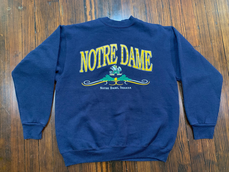 Vintage Notre Dame Fighting Irish Blue Crewneck Sweatshirt, Made In USA, Size Large