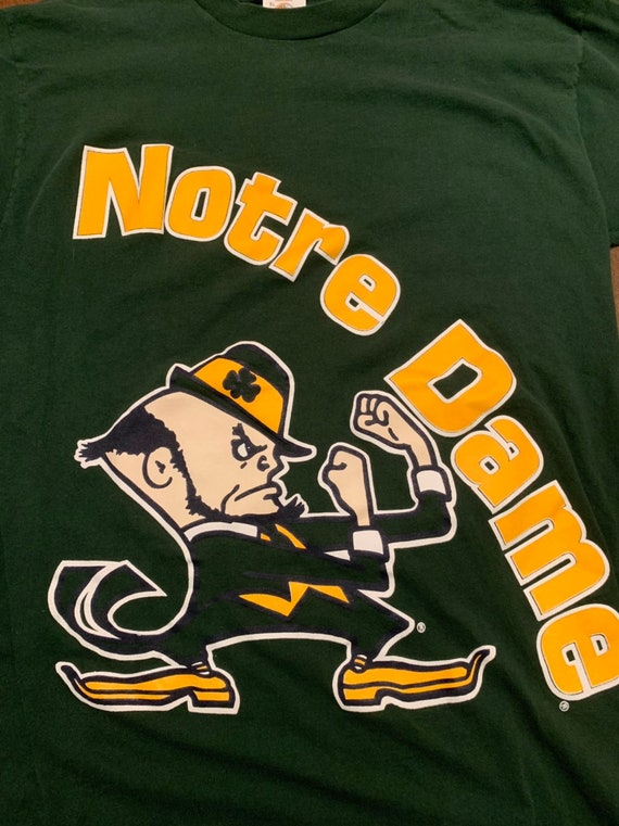 Vintage Notre Dame Fighting IRISH Green Shirt, Made in USA, Size XL