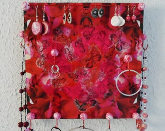 Wall mounted wooden butterflies and roses jewelry holder