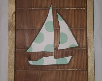 Framed Sail Boat Cut Out