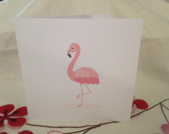 "6x6"" Pink Flamingo card, blank inner, suitable for any occasion"