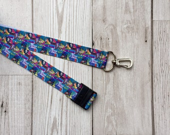 Girl Power lanyard made from DC Comics grosgrain ribbon with swivel clip and break clasp
