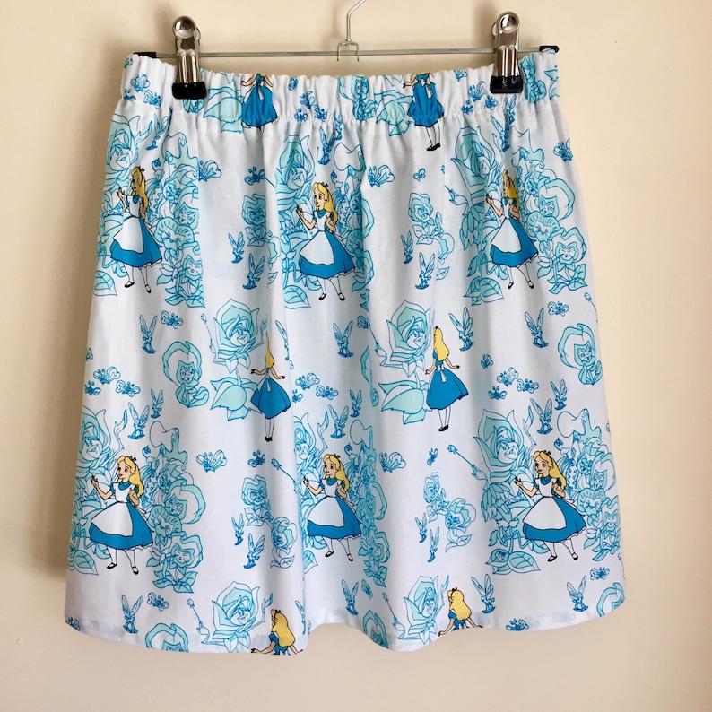 Girls skirt made from Alice in Wonderland fabric gathered elasticated waist