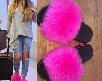 cfcf1a68c Genuine Nike Fox fur slipper slides fur slippers Slip On Fluffy flats