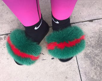97a478a4fe9c SALE Gucci inspired fox fur Nike slipper slides slippers Genuine fox fur  Slip On Fluffy flats