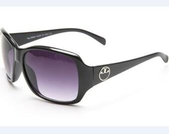"Sunglasses Designer  ""TyBUR"" Black  Rectangle Style Gradient lens"