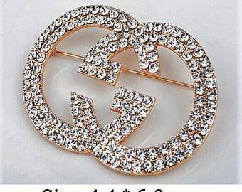 "Classic Crystal  ""G"" large Designer Brooch"