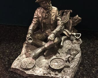 """Vintage 1977 Franklin Mint Fine Pewter Ron Hinote """"The Cowboy""""  Figurine from """"The Men and Women who Built America"""" collection"""