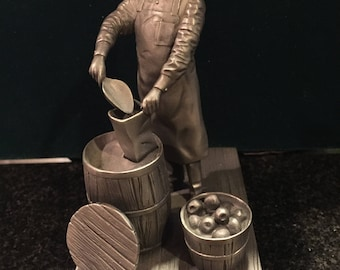 """Vintage Franklin Mint Pewter """"The Shopkeeper"""" By Ron Hinote 1977  from the collection """"Men & Women Who Built America"""""""
