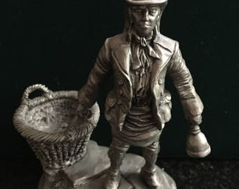 Vintage Franklin Mint Pewter Figurine The Dustman Cries Of Olde London Series