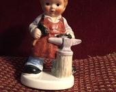 Vintage Goebel Figurine Working LITTLE BOY BLACKSMITH W. Germany 10 760 12 Anvil