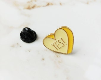 Enamel Conversation Heart YES Pin // Valentine // Love // Candy Heart
